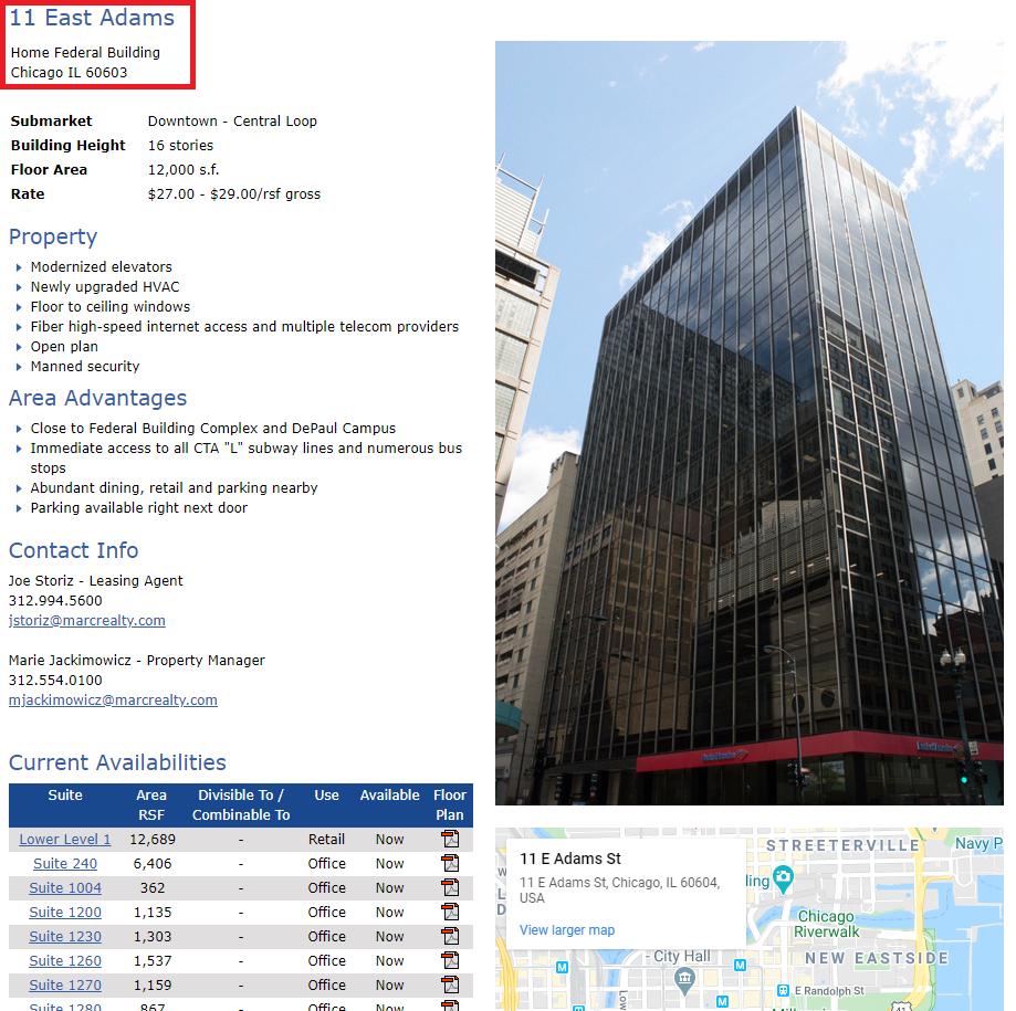 optinu academy scam east adams 11 chicago building