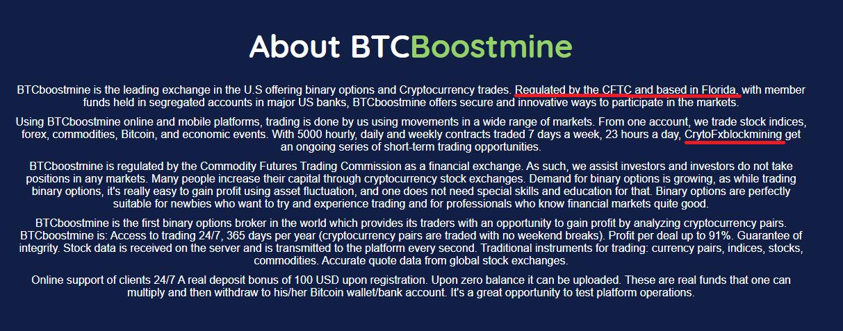 CryptoFxBlockmining BTCBoostmine BTCFrost FastProfitOptions scam fake aboutus 2