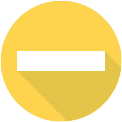 yellow circle with white dash minus sign