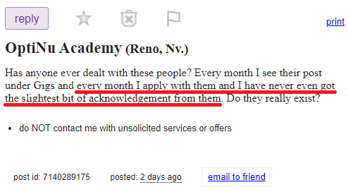 optinu academy scam craigslist