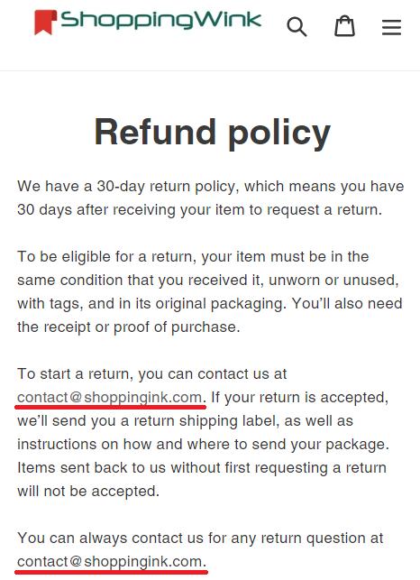 shoppingink shoppingwink scam fake email id