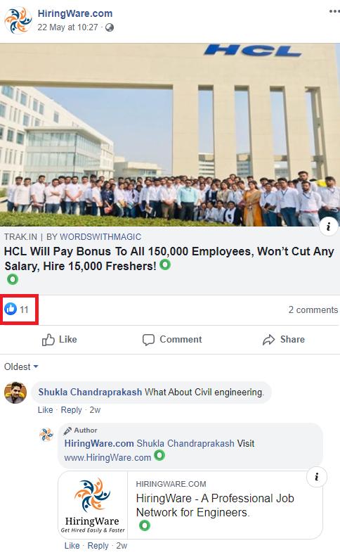 jobacute hiringware scam facebook post 2