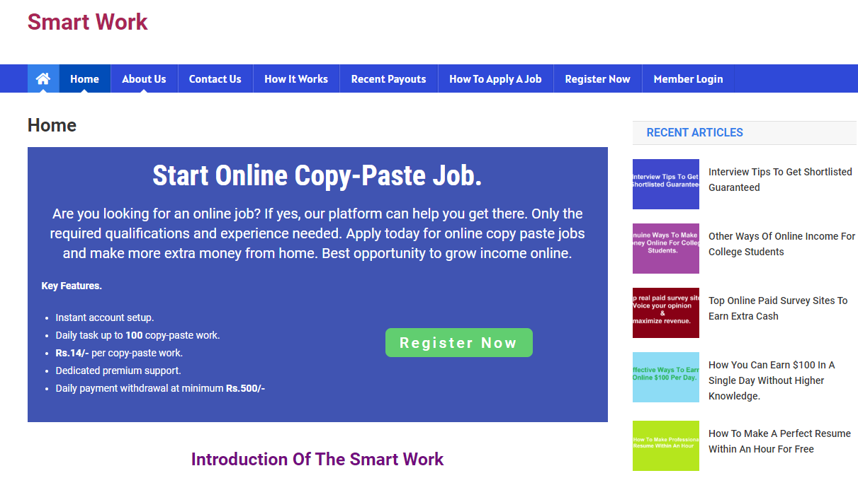 smartonlinework copy paste job homepage