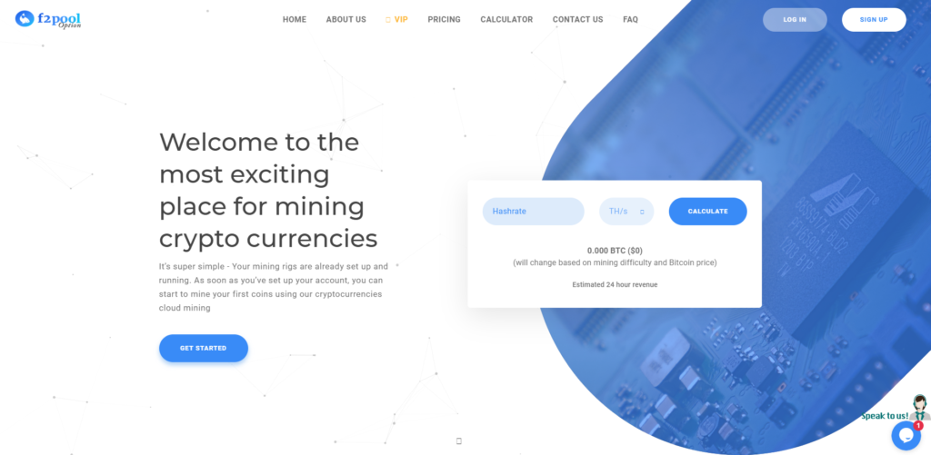 f2pooloption cloud mining scam home page