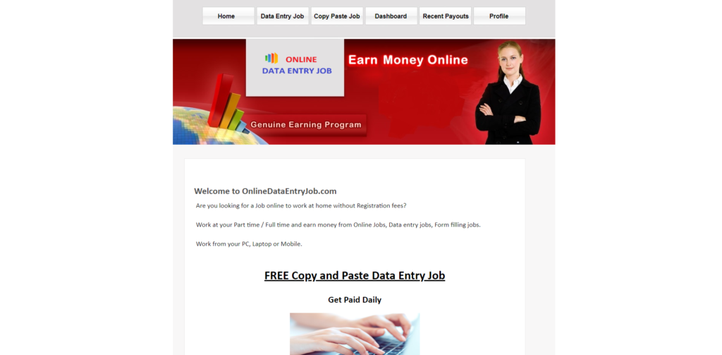 onlinedataentryjob online data entry job scam website home page