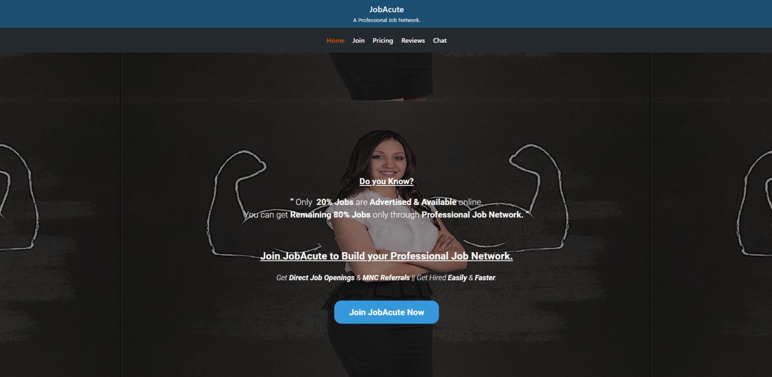 jobacute hiringware scam home page