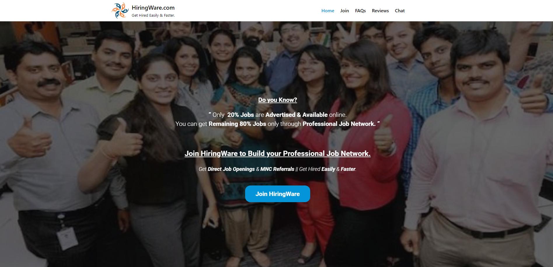 jobacute hiringware scam home page 2