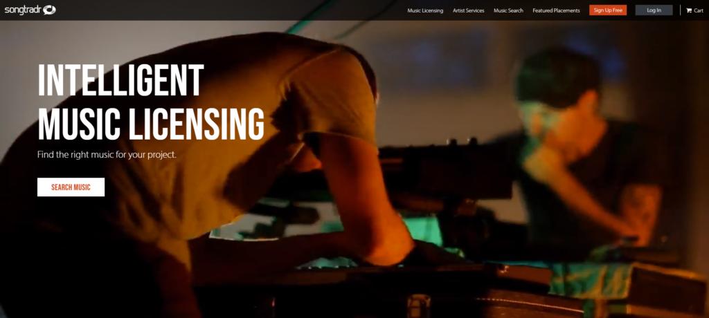 songtradr homepage screenshot