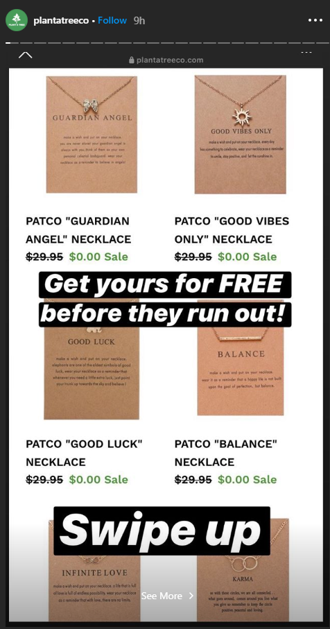 plant a tree co plantatreeco fake instagram giveaway1