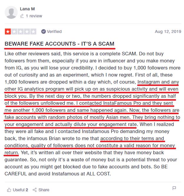 instafamous pro scam trustpilot review negative 1