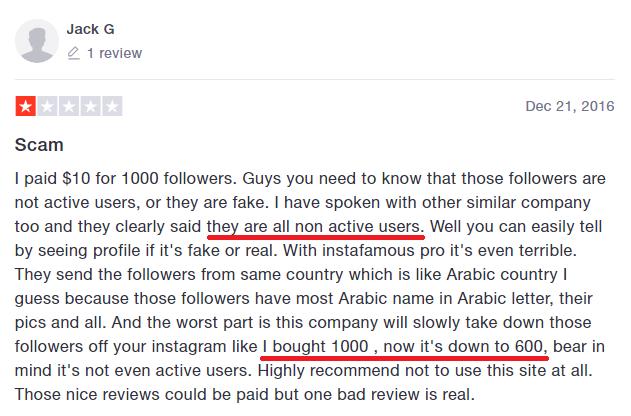 instafamous pro scam trustpilot review negative 9