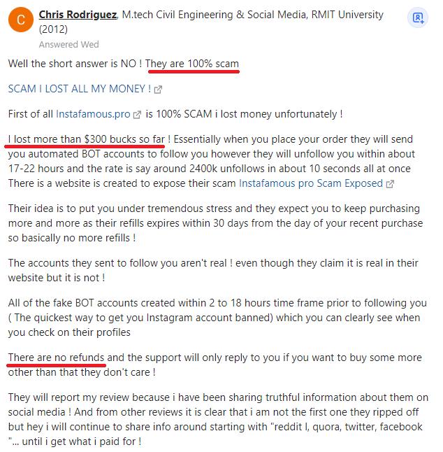 instafamous pro scam negative review quora 1