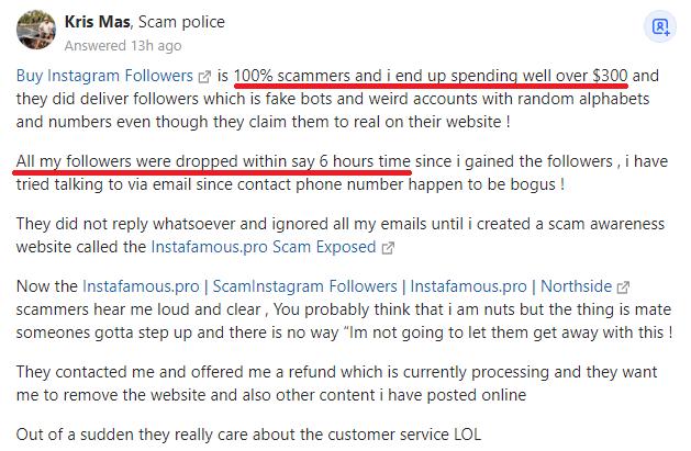 instafamous pro scam negative review quora 2
