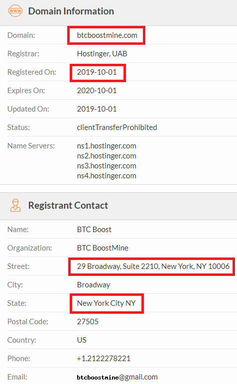 CryptoFxBlockmining BTCBoostmine BTCFrost FastProfitOptions scam whois 3