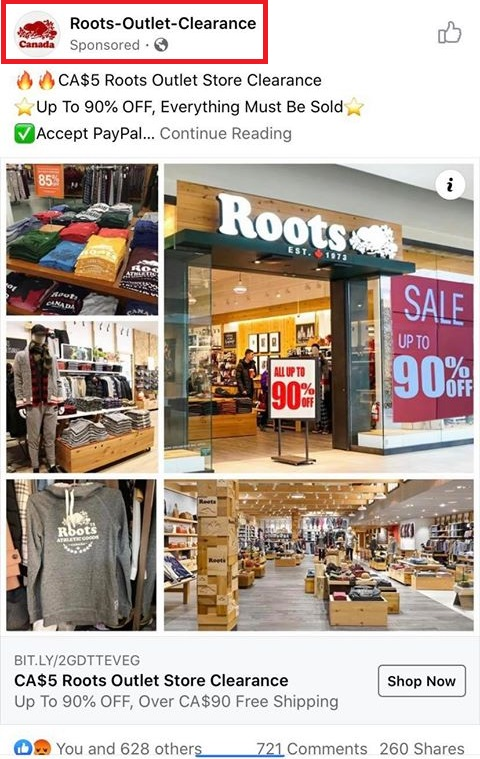 roots fake facebook ads 1