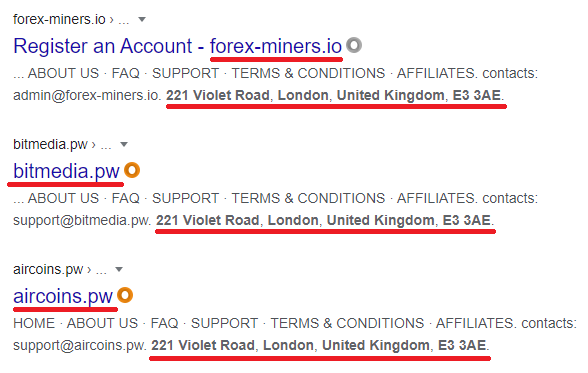 forex miners pyramid scheme fake address