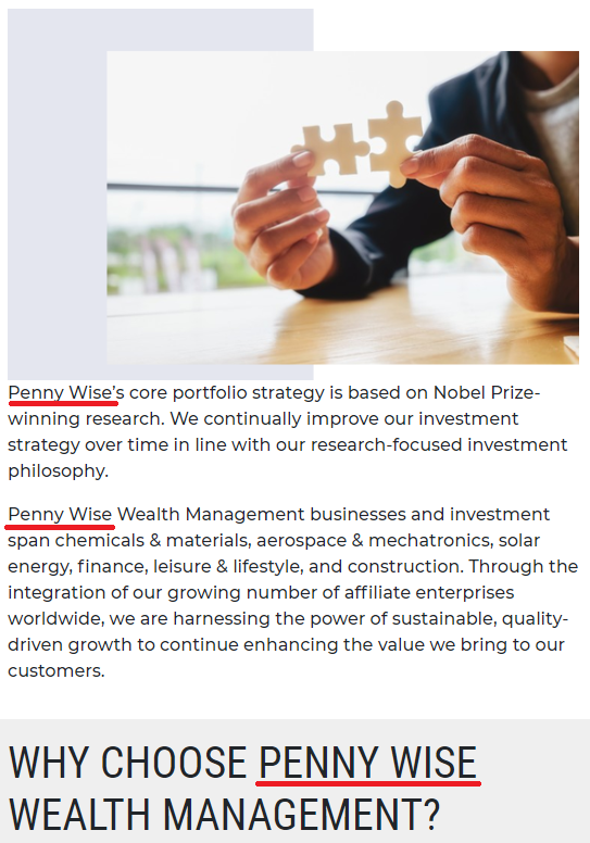 pennywise wealth management scam name 3