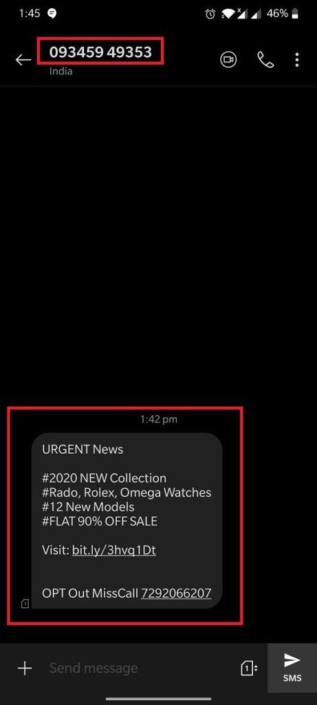 timestudio spam sms