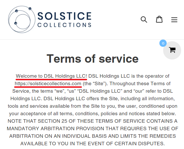 solstice collection dsl holdings