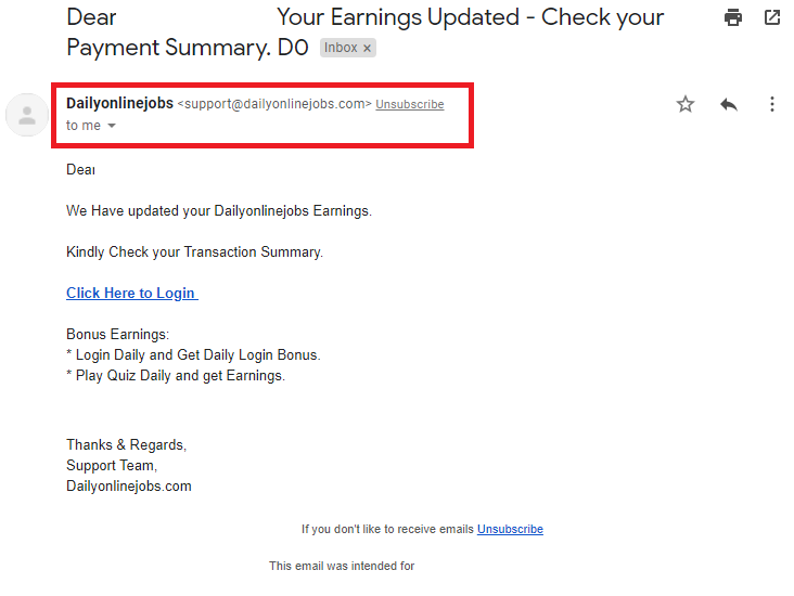 daily online jobs dailyonlinejobs scam email 2