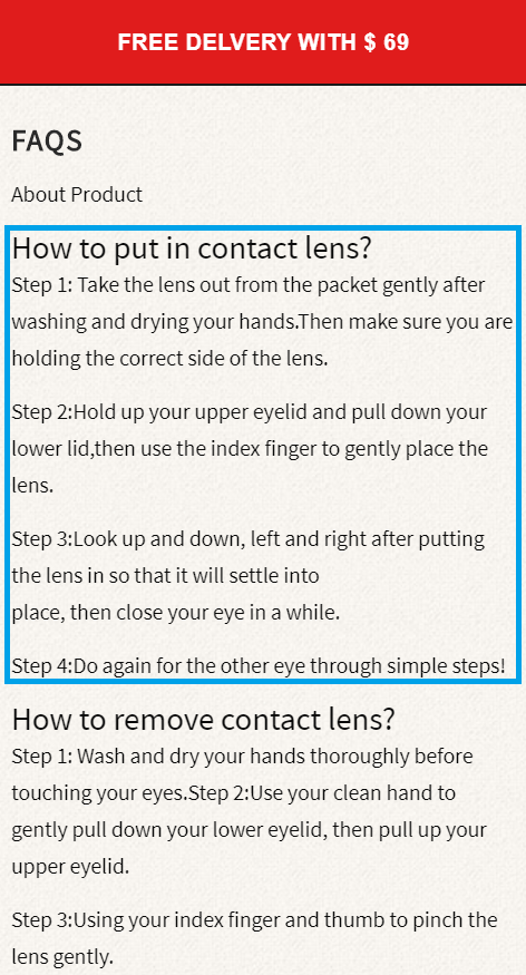 faq section contact lenses