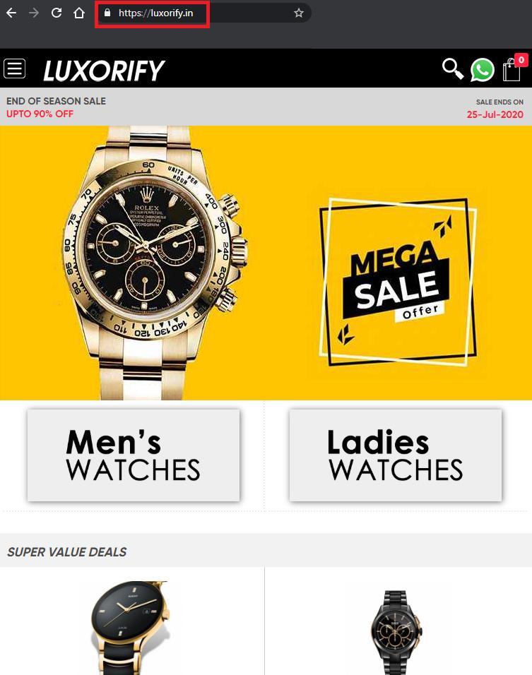 luxorify.in luxury watch scam