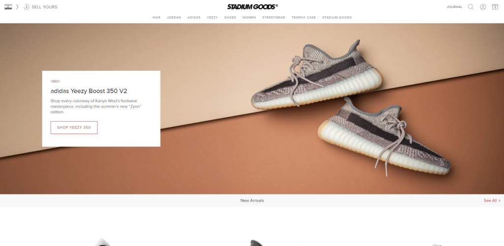 stadium goods sneakers home page