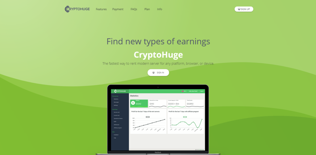cryptohuge scam home page