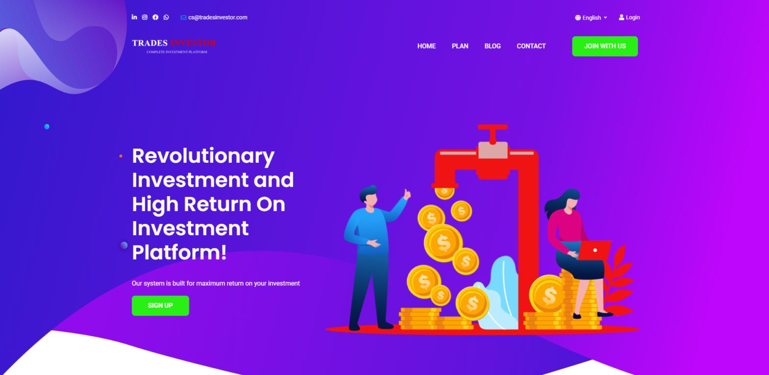 tradesinvestor scam home page