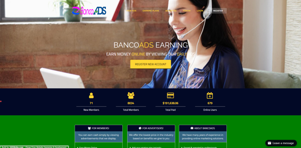 bancoads scam home page