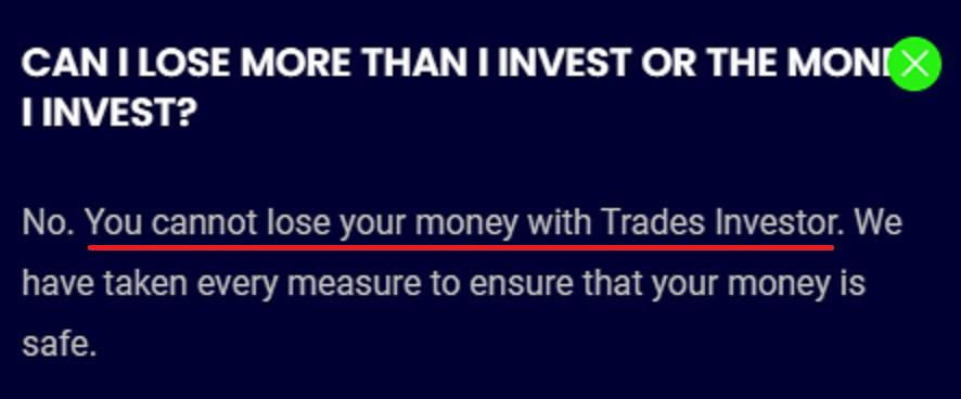 tradesinvestor scam no loss