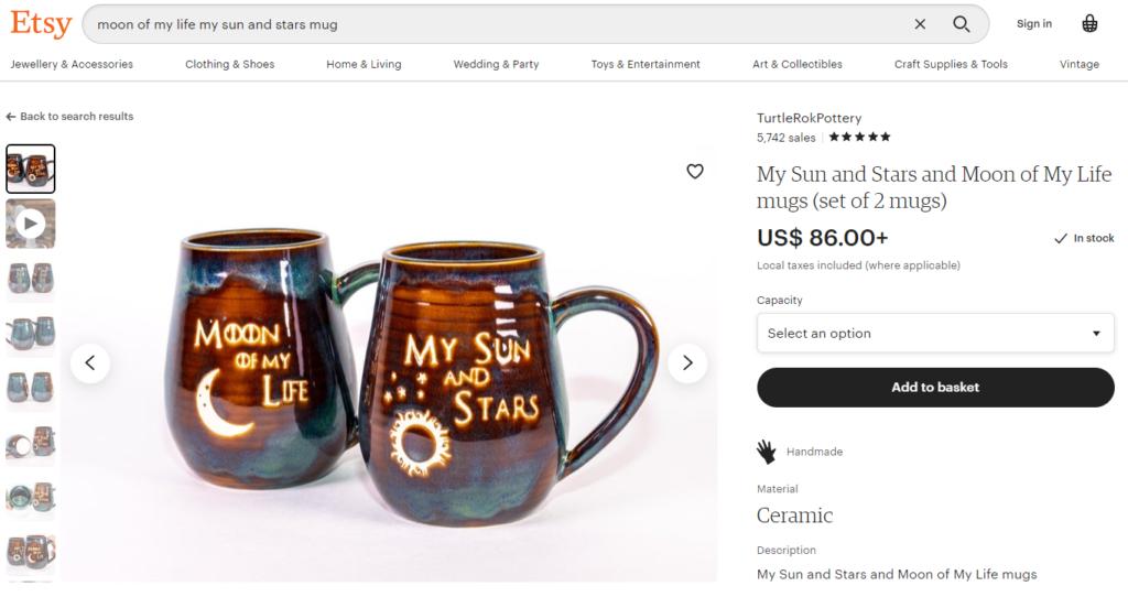 etsy sun and stars mug