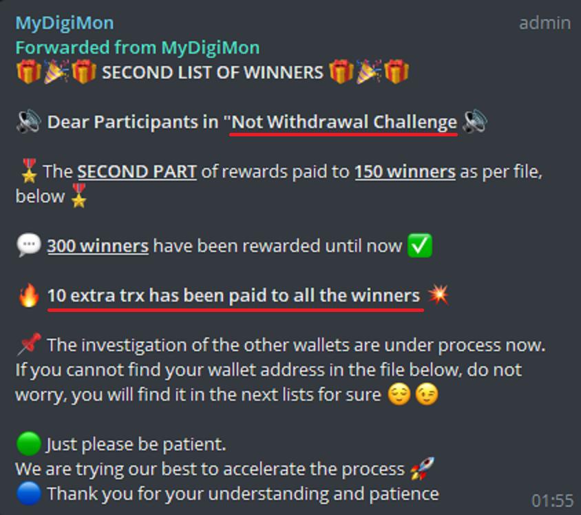 bank of tron pyramid scheme telegram challenge