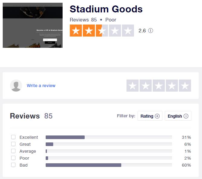 stadium goods sneaker trustpilot rating