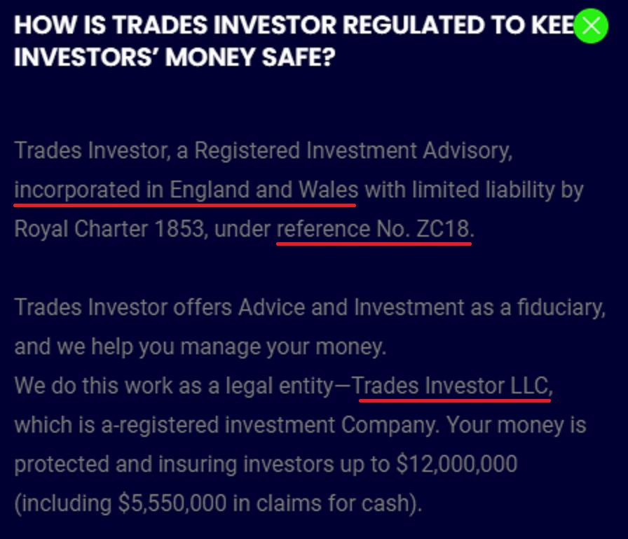 tradesinvestor scam fake registration 1
