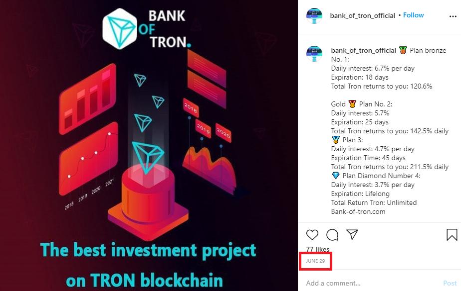 tronbank instagram 2