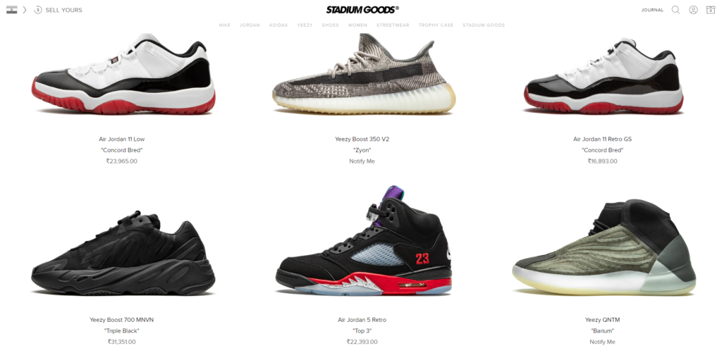 stadium goods sneaker catalogue