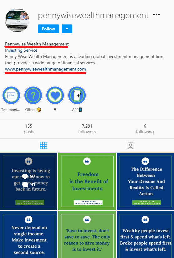 pennywise wealth management scam instagram