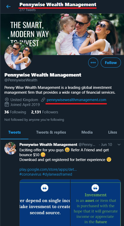 pennywise wealth management scam twitter