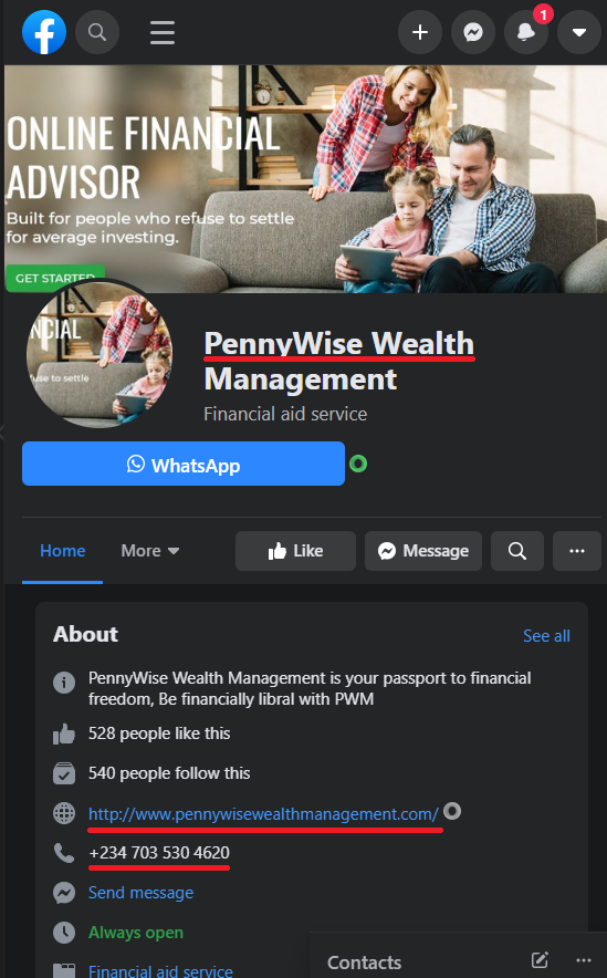 pennywise wealth management scam facebook