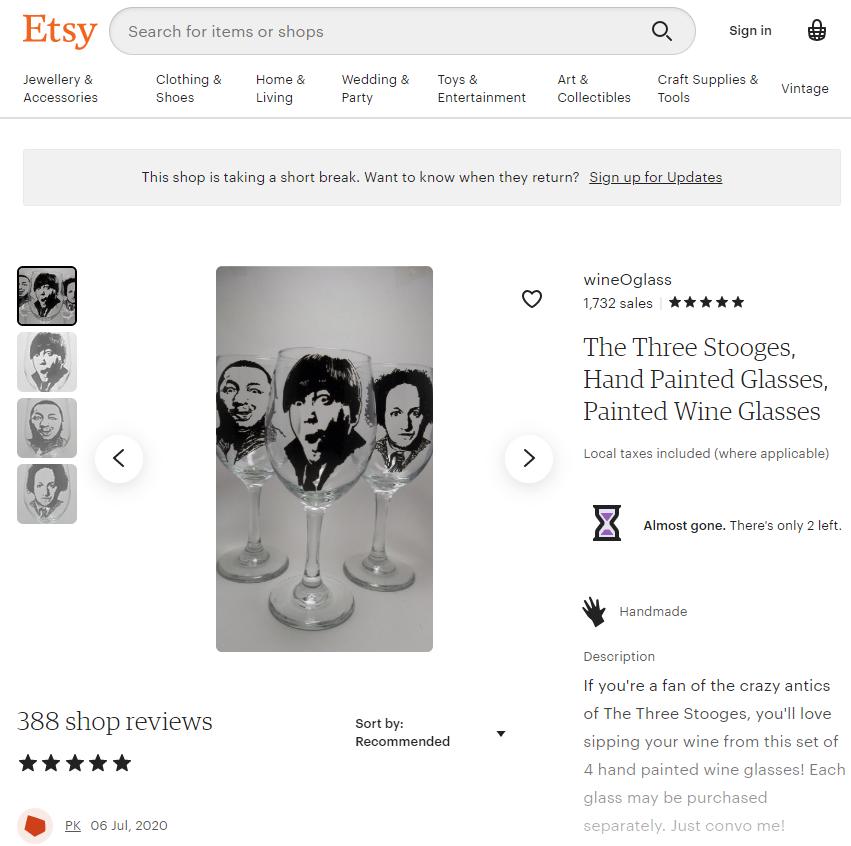 etsy three stooges wine glass