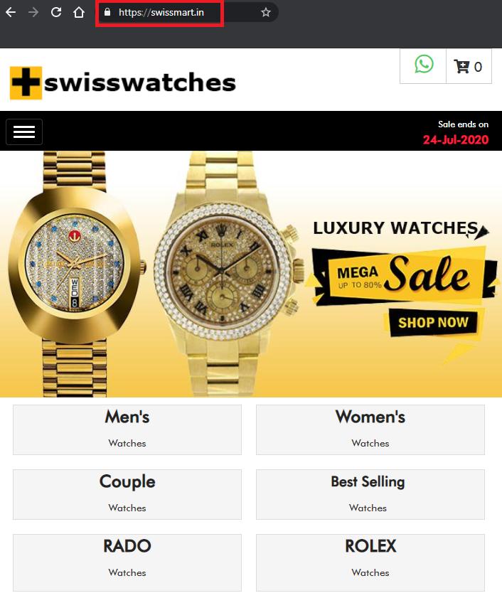 swissmart.in luxury watch scam