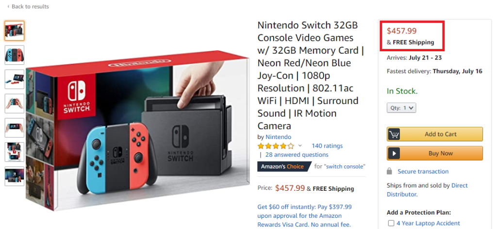 nintendo switch real price