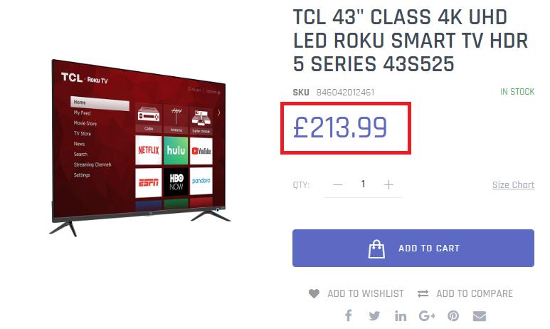 tcl tv fake price