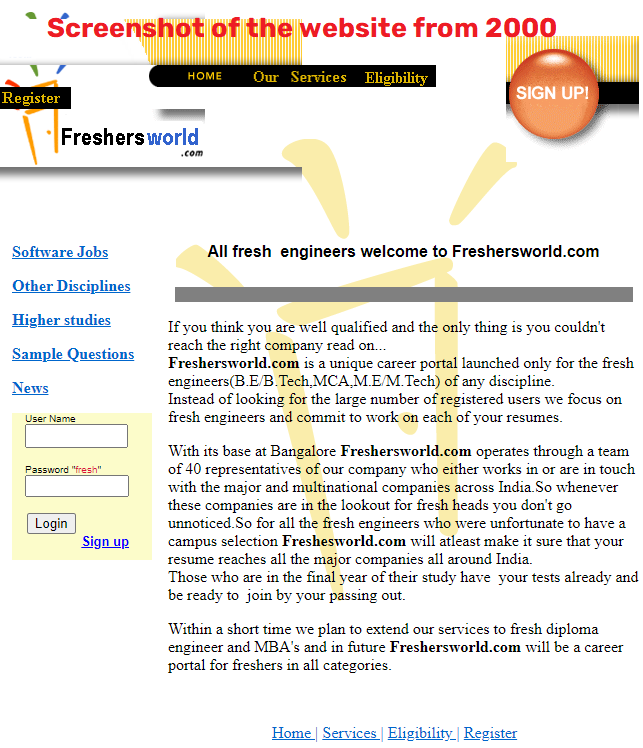 freshersworld original website
