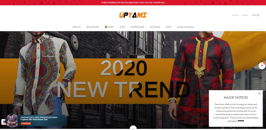upyami scam home page