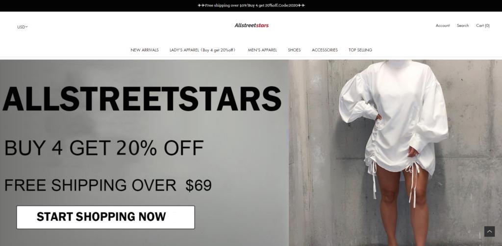 allstreetstars scam home page