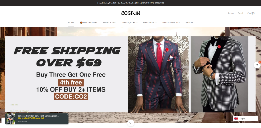 cosinin scam home page