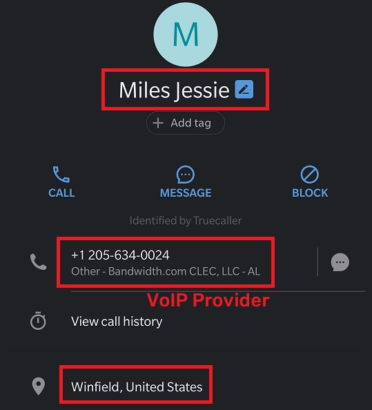 zanylp fake phone number