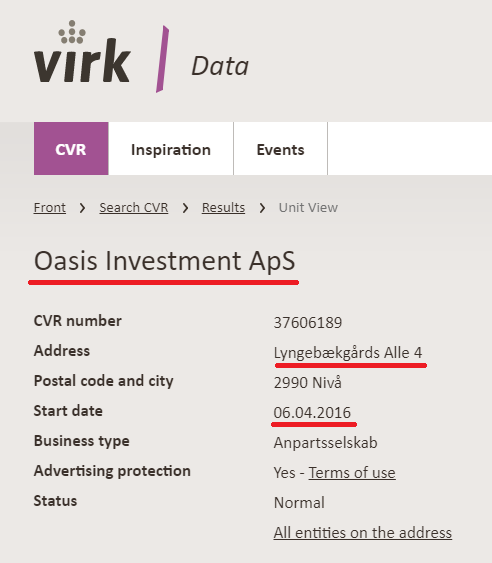 oasis investment aps denmark certificate